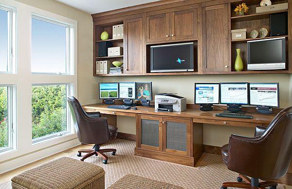 escritorio de madera natural para home office