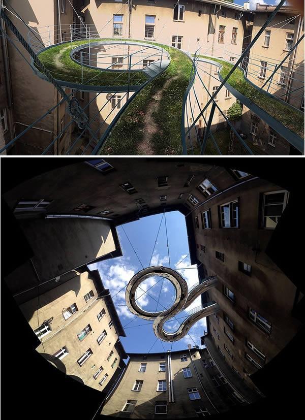 Pasarela-balcón en oficinas en Gliwice, Polonia