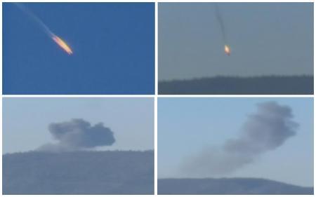 TTurquía derribó el martes un avión de combate ruso cerca de la frontera con Siria, afirmando que el caza violó de forma reiterada su espacio aéreo, uno de los choques más graves públicamente reconocidos entre un miembro de la OTAN y Rusia en medio siglo.. En la imagen, una combinación de imágenes tomadas de vídeos muestran el caza precipitándose en llamas a una zona montañosa en el norte de Siria, el 24 de noviembre de 2015. REUTERS/Reuters TV/Haberturk