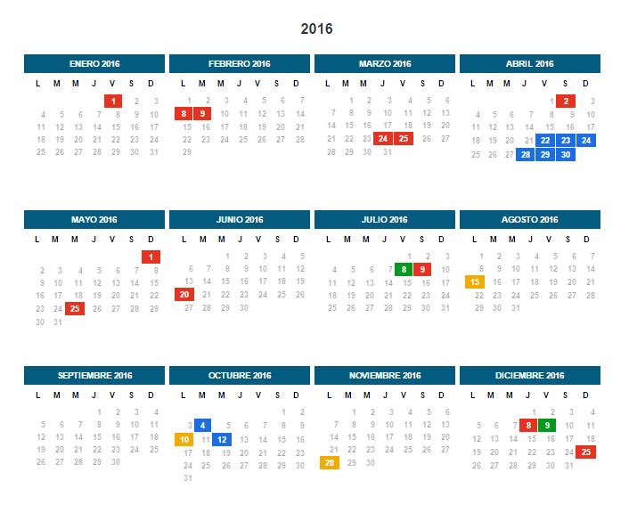 Calendario 2016 Argentina.Calendario 2016 Dias Feriados En Argentina