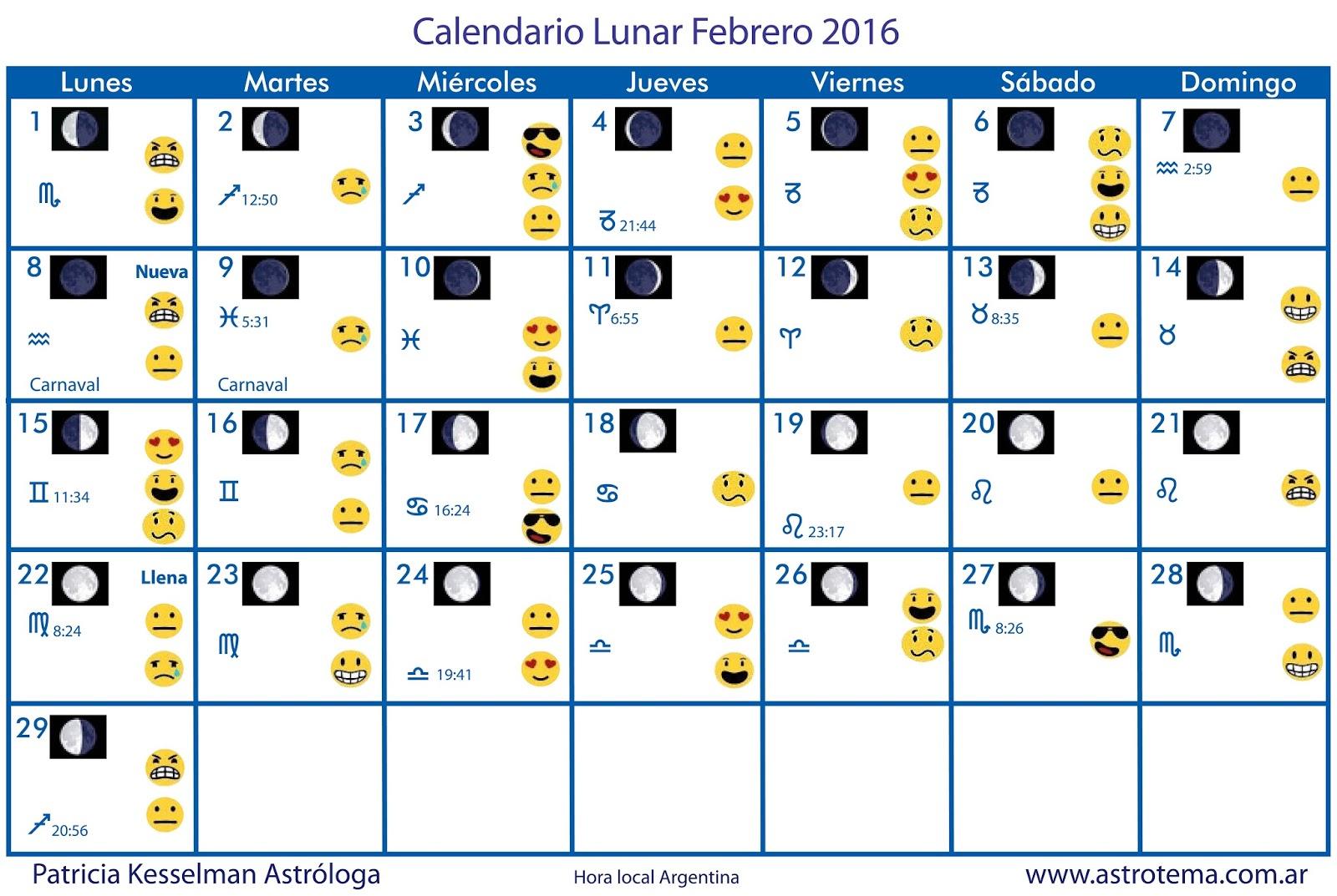 Calendario Lunar Mes Febrero 2016 Ecuador Calendario