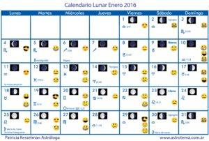 Calendario lunar enero 2016