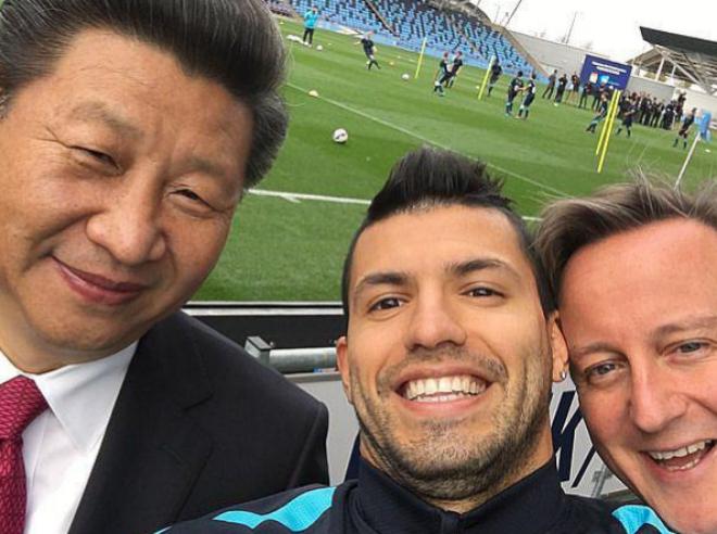 Xi Jinping, presidente de China, el futbolista Sergio Agüero y el premier británico, Cameron.