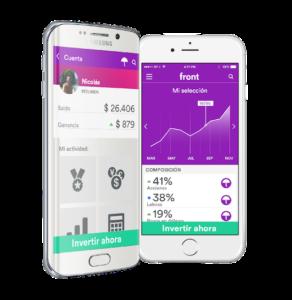 Teléfonos inteligentes que muestran gráficos de la plataforma Front